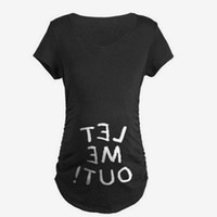 Wholesale women open shirts - let me out Summer Designer Funny T shirts Pregnant Maternity BABY NOW LOADING T-Shirt Women Letter Print Casual Cotton Tshirt