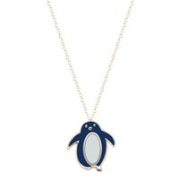 Wholesale Enamel Necklace Long Chain - 10pcs lot Small Cute Penguin Blue Enamel Necklaces & Pendants Animal Lovers Gift Long Chain Necklaces BFF Vintage Accessories