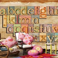 Wholesale Modern Collage - Free Shipping 3D Stereo Custom English Letter Collage Personality Mural KTV Cafe Bar Lounge Wall Wallpaper Mural