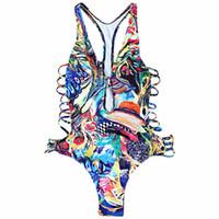 roupa de banho colorida de uma peça venda por atacado-Mulheres Plus Size Impressão Colorida One Piece Swimwear Monokini Swimsuit Maiô Feminino Oco Out Swim Praia Desgaste