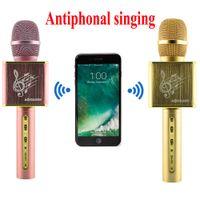 Wholesale Phone Mixer - JY-50 Antiphonal Sing Karaoke Microphone Metal Handheld Bluetooth Wireless Music Speaker With Echo Mixer For iPhone Android Phone