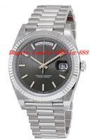 Wholesale Watches Stripes - Top Quality Luxury Watches 40 Dark Rhodium Stripe Dial 18K White Gold Automatic Men's Watch Mens Watch Wrist Watches