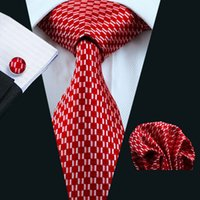Wholesale Men S Silk Business Ties - LS-569 2016 Men`s Tie 100% Silk Red Novelty Geometric Jacquard Woven Tie+Hanky+Cufflinks Set For Formal Wedding Business Party