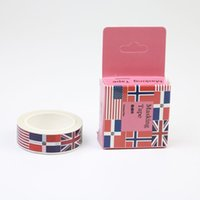 Wholesale Books Label - Wholesale- 2016 1pc National Flag Wind And Paper Tape Adhesive Tape Decorative Label Hand Book Photo Album Diary Tape Diy Clip 10m * 15mm