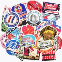 Wholesale Logo Stickers Wholesale - Retro Style 50 Pcs Travel Hotel Logo Car Stickers for Laptop Phone Skateboard Decals Japan Trip Luggage Car Styling Waterproof Sticker