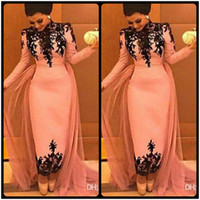 Wholesale Islamic Satin Caps - Evening Dresses 2018 Arabic Islamic High Neck Long Sleeves Pink Black Lace Appliques Ankle Length Formal Dubai Abaya Party Dress Prom Gowns