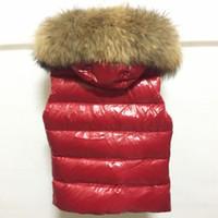 shorts weste großhandel-Große Pelzkragen Frauen Daunenweste Kurze Art 90% Weiße Ente Unten Sleeveless Weste Jacke Mode M Marke Solide Warmen Mantel