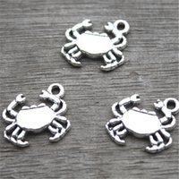 Wholesale silver crab charm - 35pcs--Crab Charms, Antique Tibetan silver Lovely Mini Crab Charm Pendant 17x15mm