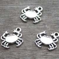 Wholesale Silver Crab Charm - 35pcs--Crab Charms, Antique Tibetan silver Lovely Mini Crab Charm Pendant 17x15mm