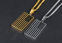 Wholesale Stainless Chain Usa - Classical Mens American Flag USA Patriot Freedom Stars and Stripes Dog Tag Rectangle Pendant Necklace Chain Silver Gold Mens Jewelry