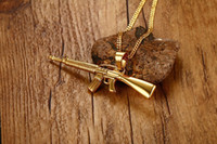 Wholesale Wholesale Assault Rifles - Men Necklaces Gold Plated AK-47 Assault Gun Rifle Iced-Out Pendant Necklace Stainless Steel Hiphop Military Jewelry PN-555