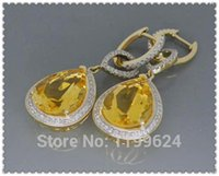 Spedizione gratuita Pear 11x15mm Solid 14k Yellow Gold Natural Diamond Citrine Gemstone Earrings (R0179)