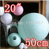 Wholesale Diy Paper Decoration - Wholesale-20 inch 50cm Round Chinese Paper Lantern for Birthday Wedding Party Decoration latern gift craft DIY wholesale