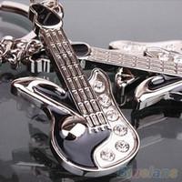 Wholesale Crystal Guitar Keyrings - Fashion Keychain Mini Guitar Key Ring Keyring Chain Crystal Cute Gadgets 1UUH