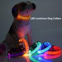 Wholesale Leopard Dog Collars - LED Luminous Dog Collars LED Pet Collar Necklace Cat Fluorescent Collar Flashing Leopard Dog Collar DHL Free Shipping 0704027