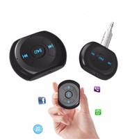 celular carro estéreo venda por atacado-A2DP 3.5mm Jack Car Kit Bluetooth Sem Fio Bluetooth 4.0 AUX Adaptador Receptor de Música De Áudio com Microfone para Celular
