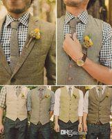ingrosso miglior vestito di lana-New Wool Tweed Groom's Wedding Gilet formale Prom Party Gilet per uomo Vintage Best man's Suit Gilet Plus Size Vendita calda a buon mercato