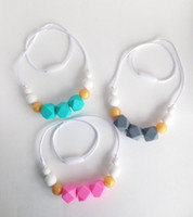 Wholesale Beaded Green Pendants Necklaces - Silicone Teething Beads Food Grade Silicone Teethers Colorful Teething Necklace Hexagon Round Beads Nursing Necklace Baby Chewable Jewelry