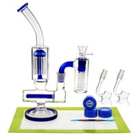 Wholesale Cheap Metal Boxes - REANICE BOX Newest Glass Recycler 18.8mm Jonit Blue + Silicone mat Silicone wax Metal tools spoon Luxury Experience Cheap Bong