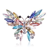 Wholesale Diamond Star Brooch - Colorful Jewelry brooches Crystal Butterfly wedding Brooches pins accessories brooch broaches christmas jewelry rhinestone channel diamond