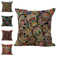 Wholesale skull bedding - Hallowmas Sugar Skull Pillow Case Cushion cover Linen Cotton Throw Pillowcases sofa Bed Pillow covers DROP SHIPPING