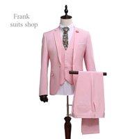 Wholesale Mens Pink Zipper Ties - Wholesale- 2016 Men Slim Fit Pink Suit Wedding Groom Mens Prom Suits With Pants Party Dinner Tuxedos For Men ( jacket+Pants++vest+tie)