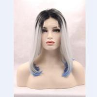 "Wholesale Blue Swiss Lace - Short bob ombre black grey blue middle part 100%fiber heat resistant 150% 200g soft swiss lace 3-4"" combs&straps can add heat"