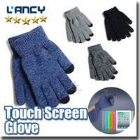 Wholesale Velvet Touch Screen Gloves - High quality Knit Wool Touch Gloves for iPhone thickness with velvet inside glove free shipping via DHL