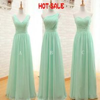 Wholesale One Shoulder Mint Dress - 2017 Cheap Bridesmaid Dresses Custom Made One Shoulder V Neck Sweetheart Long Formal Wedding Guest Dress Mint Green Maid of Honor Gowns