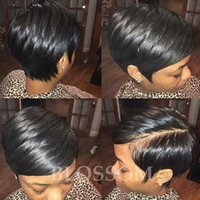 Wholesale Black Pixie Wig - Pixie cut short full lace wig brazilian glueless full lace human cut hair wigs with baby hair short wigs for black women