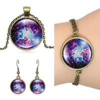 Wholesale bronze bracelet accessories for sale - Hot Set Children Jewelry Set Galactic space Picture Vintage Bronze Accessories Pendant Necklace Stud Earrings Bracelets Set Jewelry gift