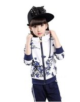 Wholesale Girls Spring Sports Jackets - 2017 New Girls Sets Spring Autumn Baby Girls Clothes Jacket Floral Sports Hoodies+Pants 2Pcs Sets Suit Children Girls Clothing Sets