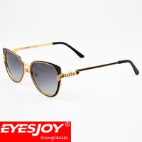Wholesale Round Cateye Sunglasses - Luxury Cateye Women Sunglasses Brand Designer Gold Frame Glasses Luxury Brand Full Frame Sun glasses for Women With Original Box CT6338248SG