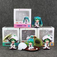 Wholesale Miku Kimono - 6-9.5cm Anime Hatsune Miku Snow Miku White Kimono PVC Action Figure Model Toy for kids gift free shipping retail