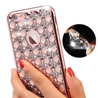Iphone Plaqué Or En Diamant Pas Cher-Luxe Gold Bling Glitter plaqué Diamond Phone Case pour iPhone 7 Plus iPhone 6 6S Plus Soft TPU Retour SE 5 5s Cover