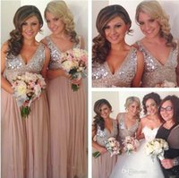 Wholesale Light Blue Long Bridal Dress - Crystal Sequins Chiffon Rose Gold Bridesmaid Dresses Plus Size Sparkly Maid of Honor Bridal Wedding Party Gowns Maternity 2016 Custom Made