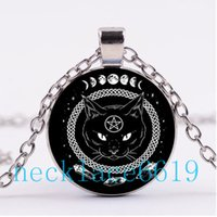 Wholesale r pendants - 10Pcs Pentagram Black Cat Wicca Necklace,Pendant,Christmas Gift,birthday Gift,Cabochon Glass Necklace,silver black Jewelry R-973