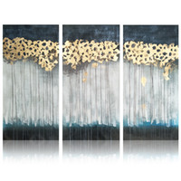 Wholesale Group Oil Paintings - Handmade Gold Foil Oil Painting Modern Abstract Acrylic Paintings Canvas Art Decor 3 Panels Group Artwork