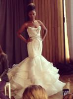 Wholesale Wedding Dress Made Voile - Strapless Wedding Dresses Backless Sleeveless Beading Bridal Gown Open Back Custom Made Voile Crystal Rhinestone Wedding Dress
