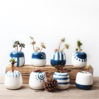 Wholesale White Mini Vases - 8pcs set Original Design Mini Ceramic Succulent Plant Pot Handmade Porcelain Planter Home Decor Flower Pot Bonsai Planter Vase 72