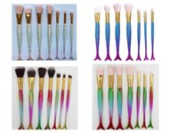 Wholesale Hair Cream Color - Newest Color 7pcs set Mermaid Makeup Brush With Make Up Brushes Eyebrow Eyeliner BB Cream Foundation 5 Colors Powder Colorful DHL Free Ship