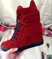 Wholesale Winter Hidden Wedges Shoes - Golden Chain Women Suede Leather Wedge High Top Casual Shoes Hidden Lace Up Platform Ankle Booties Winter Autumn Woman Shoes