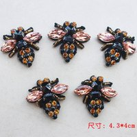 Wholesale Beaded Appliques Wholesale - 1Pcs Rhinestone Bee Beaded Patch for Clothing Sewing on Beading Applique Clothes Shoes Bags Decoration Patch DIY Apparel