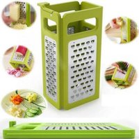 Wholesale Tool Box Plastic Cooking - High Quality Folding Box Grater Device Shredders Cheese Slicer Flat Coarse Fine Ribbon Etched Blades Cooking Tools CCA6391 48pcs