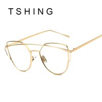 Wholesale Eye Designs Optical - Wholesale-Women Cat eye Optical Glasses Frame 2016 New Brand Design Mirror Rose Gold Clear Cateye Sunglasses Fashion Vintage Lady Eyewear
