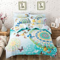 Wholesale Colorful Bedspreads - Wholesale- 4PCS 100% Cotton bed linen 3d butterfly bedding sets colorful duvet cover king queen twin size bedspread blue green bed cover