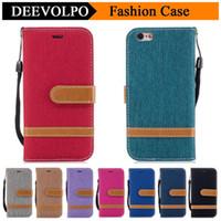 iphone cases kovboy toptan satış-Galaxy S7 S8 Denim Kumaş Kovboy Kılıfları Fundas iPhone 7 Için 6 Kontrast Renk Jean Tuval