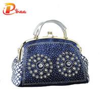 Wholesale designer handbags crystal - Wholesale-2016 fashion denim women handbags designer weaving tote bag crystal diamond decorative big bags