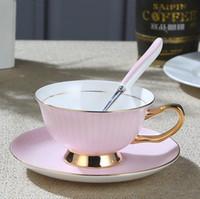Wholesale Trays For Tea Sets - European Royal Mug Bone China Gold Coffee Cup And Saucer Ceramic Tea Mug Tray Set Advanced Porcelain Mug Drinkware For Gift