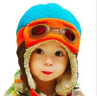 ingrosso testa cappuccio infantile-Toddlers Cool Baby Boy Girl Bambini Neonati Inverno Pilot Warm Cap Bomber Hat Head ciucumtance da 47-52cm 4 anni 90g